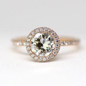 Halo 2.05 Carat Diamonds 18k Rose Gold Halo Ring